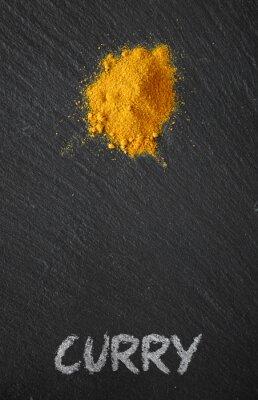 Obraz Curry na czarnym stole łupków
