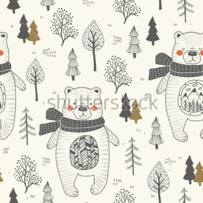 Obraz cute bear hand drawn forest seamless pattern. Doodle cartoon anymal.