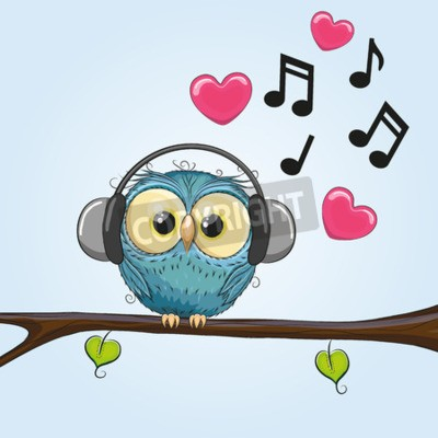 Obraz Cute cartoon Sowa ze słuchawkami