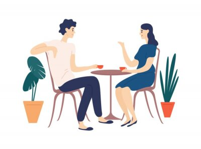 Obraz Cute couple sitting at table, drinking tea or coffee and talking. Young funny man and woman at cafe on date. Dialog or conversation between romantic partners. Flat cartoon vector illustration.
