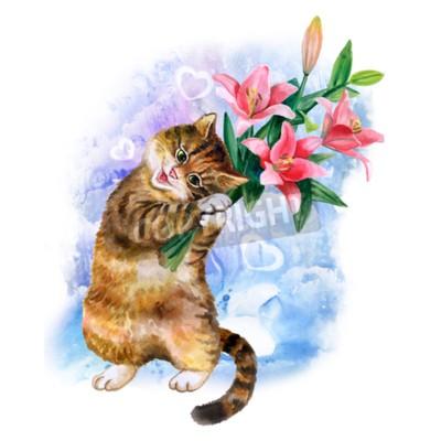 Obraz Cute karty akwarela z kotem i kwiaty samodzielnie na niebieskim tle z serca. Uroczy kotek z lilii. Idealny do dnia Valentin, urodziny, zaproszenia ślubne plakatu. Pi bouqet wiosny.