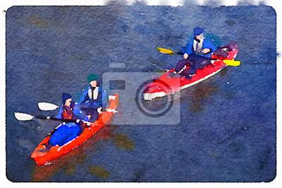Obraz Cyfrowa akwarela dwa kajaki, jeden z mężczyzny i kobiety i jednego mężczyzny z jedną wioślarstwie na jeziorze. Z miejsca na tekst.