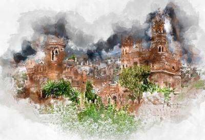 Obraz Cyfrowa akwarela Zamku Colomares. Zamek poświęcony odkrywcy i nawigator Christopher Columbus. Miasto Benalmadena. Andaluzja. Andaluzja. Hiszpania