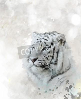 Obraz Cyfrowy obraz białego tygrysa szefa