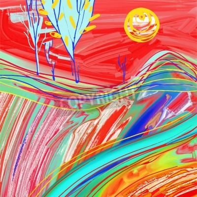 Obraz cyfrowy obraz czerwonego słońca krajobraz, twórczej inspiracji grafika, nowoczesny impresjonizm, ilustracji wektorowych