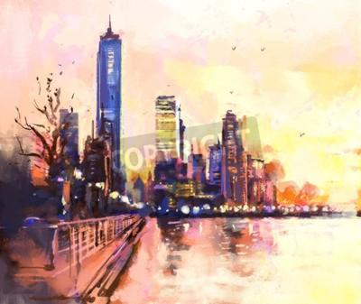Obraz Cyfrowy obraz miasta z wieżowca i oceanu o zachodzie słońca. Rastr Zdjęcie llustration