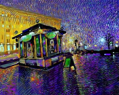 Obraz cyfrowy obraz sztuki nocy Kijowie miasta, ilustracji wektorowych