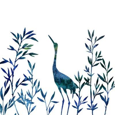 Obraz Czapla w gąszczu gałęzi z liśćmi bambusa