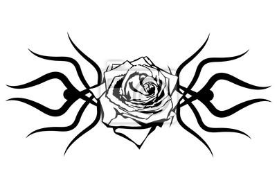 Obraz Czarna Róża Na Białym Tle Element Tatuaż