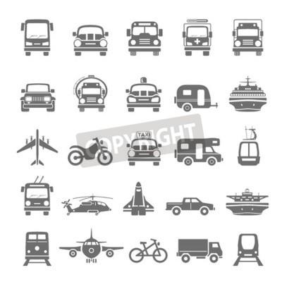 Obraz Czarne ikony transportu