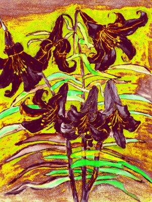 Obraz czarne lilie