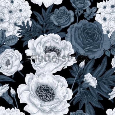 Obraz Czarno-białe tło kwiatowy z róż, piwonie, hortensje, goździki.