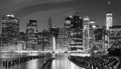 Obraz Czarno-białe zdjęcie Manhattan nabrzeża, NYC, USA.