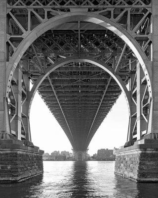 Obraz Czarno-biały z Williamsburg Bridge w Nowym Jorku w mglisty dzień