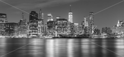 Obraz Czarny i biały Nowy Jork panorama przy nocą, usa.