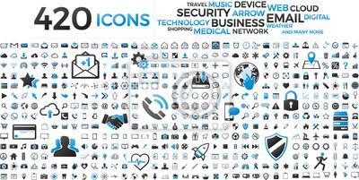 Obraz Czarny i niebieski zestaw ikon biznesowych technologii sieci