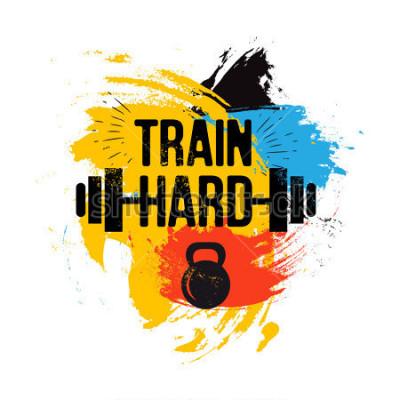 Obraz czarny kettlebell i brzana na kolorowym tle pędzel z inspirującym frazą - ciężko trenować. Trening sportowy fitness. Ilustracji wektorowych dla klubu kulturystycznego, t-shirt, plakat