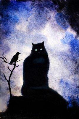Obraz Czarny kot z zielonymi oczami