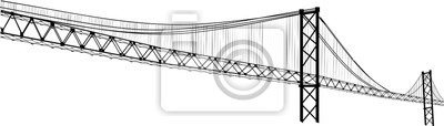 Obraz czarny nowoczesny długi most na białym tle