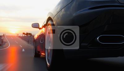 Obraz Czarny samochód sportowy na drogi, autostrady. Bardzo szybka jazda. Renderowania 3d.