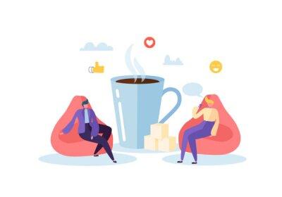 Obraz Czas na lunch w biurze. Postacie ludzi biznesu w przerwie na kawę. Pracownicy rozmawiają, odpoczywają i piją gorące napoje. Ilustracji wektorowych