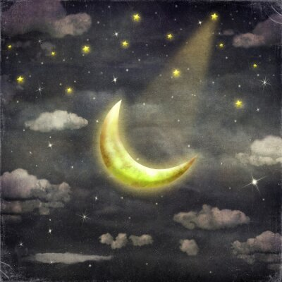 Obraz Czas nocy z gwiazd i księżyca