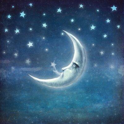 Obraz Czas nocy z gwiazd i księżyca, tło