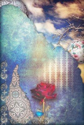 Obraz Czerwona róża w niebieskim rozgwieżdżone niebo