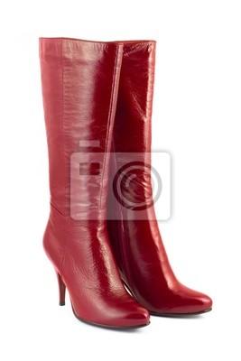 Czerwone buty kobieta na białym tle