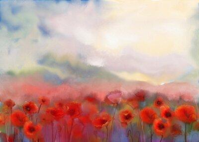 Obraz Czerwone kwiaty maku złożony akwarela