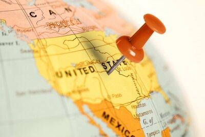 Obraz Czerwony pin na mapie.