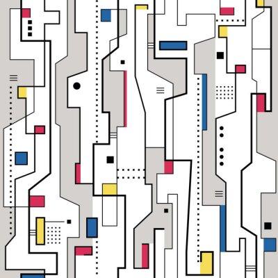 Obraz czerwony żółty niebieski i szary abstrakcyjny wzór