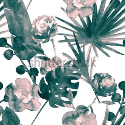 Obraz Czeski turkusowy niebieski retro egzotycznych kwiatów akwarela bezszwowe wzór. Miękki żeński tkaniny tło z bananem, fan liście, róże. Kwiatowy akwarela bezszwowe wzór tropikalna tapeta drukuje.