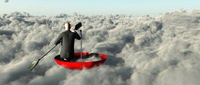 Obraz Człowiek brodzik przez chmury w odwróconym parasolem