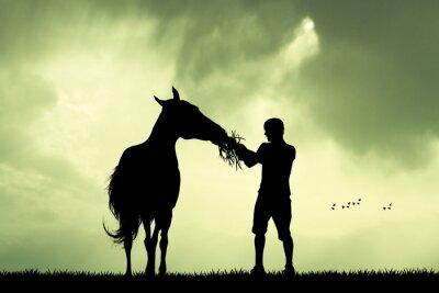 Obraz Człowiek i koń o zachodzie słońca