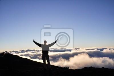 Człowiek na szczycie Haleakala National Park - Maui, Hawaii