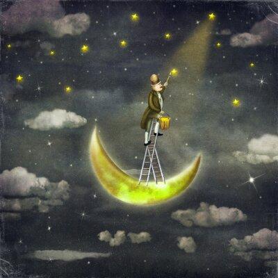 Obraz Człowiek rysuje gwiazdy w górze wysokiej drabiny w ciemnym niebie