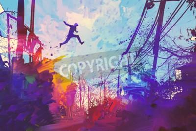 Obraz człowiek skoków na dachu w mieście z abstrakcyjnego grunge, ilustracja malarstwo
