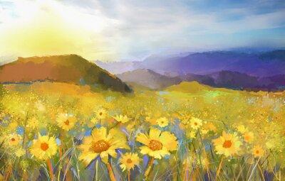 Obraz Daisy kwiat blossom.Oil obraz wiejskiej słońca