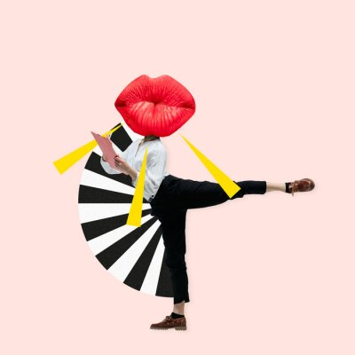 Obraz Dancing office woman in classic suit like a ballet dancer headed by the big red female lips against trendy coral background. Negative space to insert your text. Modern design. Contemporary art collage