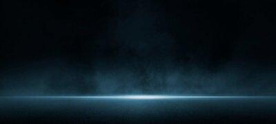 Obraz Dark street, asphalt abstract dark blue background, empty dark scene, neon light, spotlights The concrete floor and studio room with smoke float up the interior texture for display products