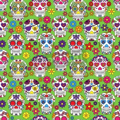 Obraz Day of the Dead Sugar Skull Seamless Vector Background