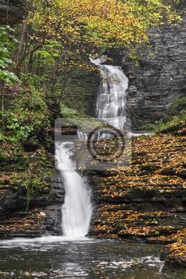 Deckertown Falls Autumn - Montour Falls, New York