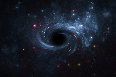 Obraz Deep space star field with black hole.