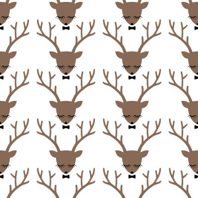 Obraz Deer head silhouette seamless pattern. Animal head texture. Cute sleeping deer with bow background for winter holidays.