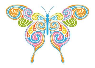 Obraz Dekoratives Vektor Element - bunter, abstrakter Schmetterling mit Spiral Muster. Projekt Vorlage für Grußkarten und Hintergründe. Wiosna, Frische Farben.