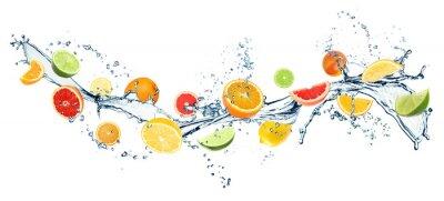 Obraz Different fresh citrus fruits and splashing water on white background. Banner design