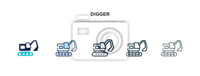 Obraz digger icon in different style vector illustration. two colored and black digger vector icons designed in filled, outline, line and stroke style can be used for web, mobile, ui