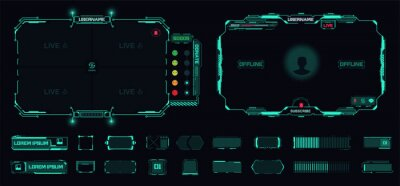 Obraz Digital frame technology UI,UX Futuristic HUD, FUI, Virtual Interface. A design template for a set of frames , buttons, and overlay cursors for game streaming. Futuristic info boxes layout templates.