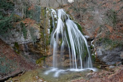Djur-Djur waterfall (Crimea Mountains) in winter beginning